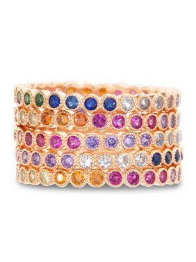 Multicolored Cubic Zirconia Round Eternity Stackable Ring Set in Rose Gold Plated Sterling Silver