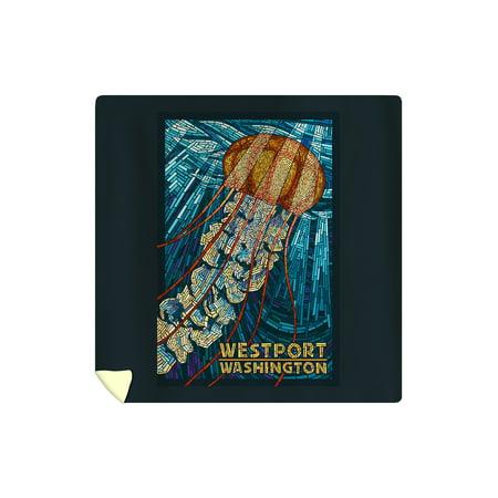 Westport, Washington - Jellyfish - Paper Mosaic (88x88 Queen Microfiber Duvet (Westport Kids)