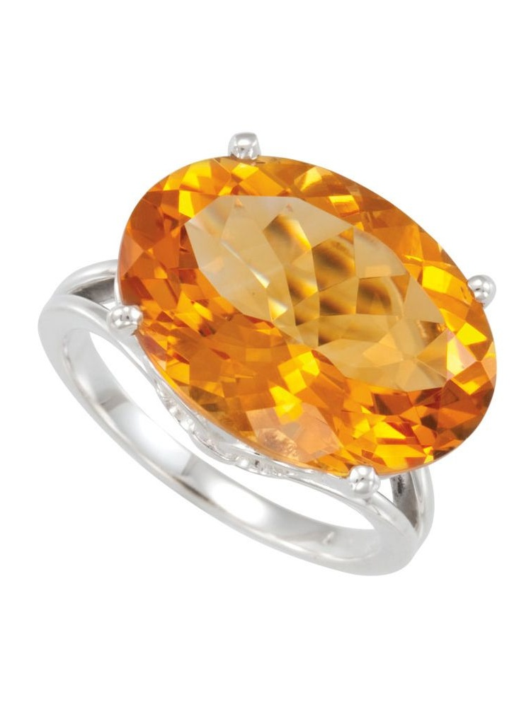 Sterling Silver Citrine Solitaire Gemstone Ring by