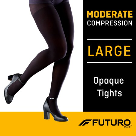 FUTURO Opaque Tights, Unisex, Moderate Compression, Large, Black Dragon Opaque Tights