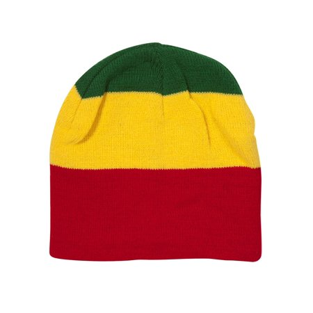 - Striped Rasta Cuffless Beanie - Green/Gold/Red