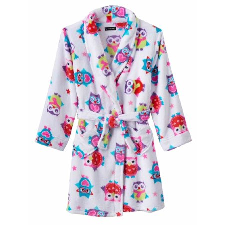 Cuddle Duds Girls Plush White Owl Bathrobe Star Print Robe