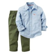 Carters Infant & Toddler Boys 2PC Outfit Stripe Blue Shirt & Green Pant Set