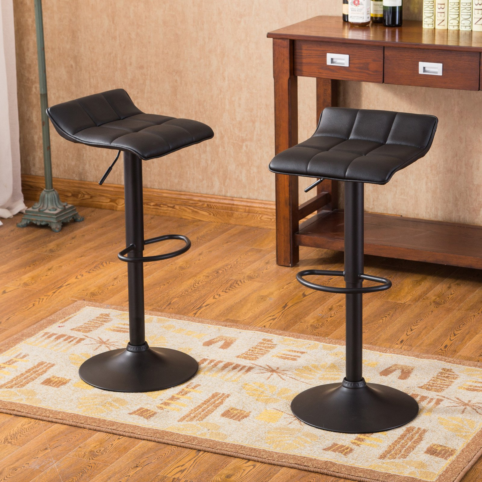 Roundhill Furniture Belham Swivel Black Bonded Leather Adjustable Bar Stool,  Set Of 2