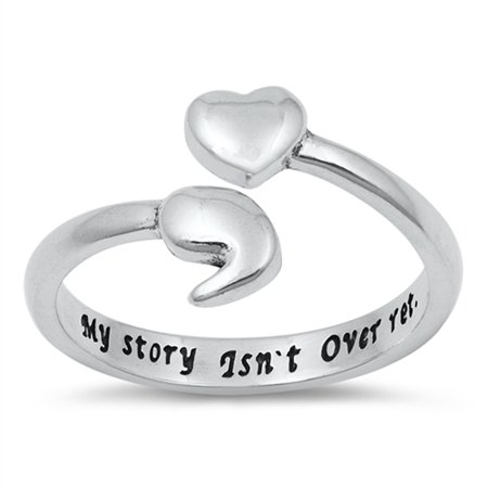 Sterling Silver Puzzle Ring - My Story Isn't Over Yet Heart. Ring 925 Sterling Silver Semicolon Band Size 8