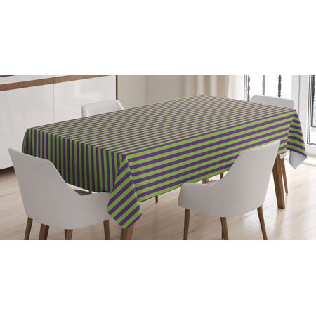 Pop Art Decor Tablecloth, Vintage Retro 50s 60s Style Bold Stripes Rooms Wallpaper Image, Rectangular Table Cover for Dining Room Kitchen, 60 X 84 Inches, Royal Blue and Lime Green, by Ambesonne - 50s Table