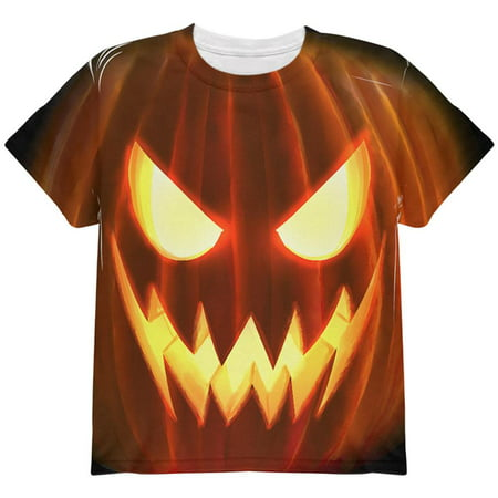 Halloween Scary Jack-O-Lantern Costume All Over Youth T Shirt - Non Scary Halloween Songs