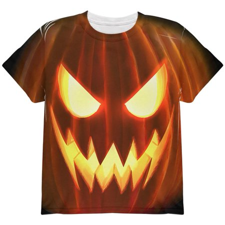 Halloween Scary Jack-O-Lantern Costume All Over Youth T - A List Of Scary Halloween Words