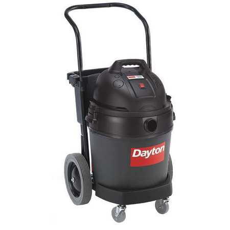 DAYTON Wet Dry Vacuum, Commercial, 12-Gal Plastic Tank, 3. Peak HP 6AKZ2 by DAYTON