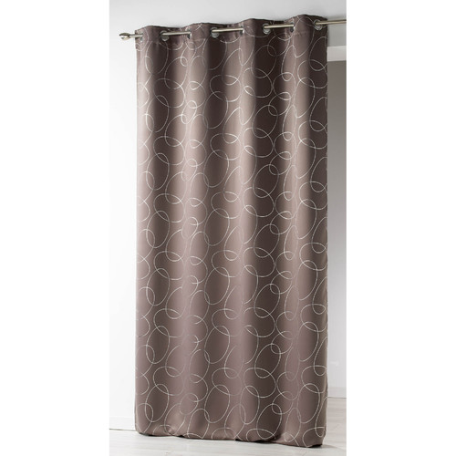 Evideco Silvermoon Geomatric Blackout Thermal Grommet Single Curtain Panel