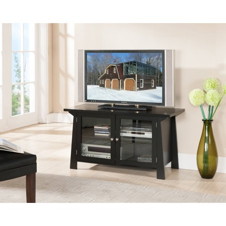 "Izabella 42"" Black Wood Transitional Entertainment Center Media Console TV Stand With Glass Cabinet Doors & Storage Shelves"