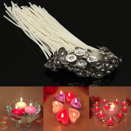 Static Wick - 100 Pcs Pack Pre-Waxed White Candle Wicks DIY Candle Wicks Cotton Core with Metal Sustainers for Candle Making 20cm/8