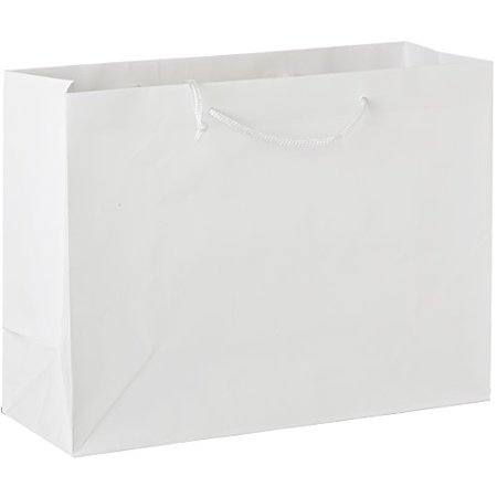 25 White Gloss Laminated Heavy Paper Tote Bag with Soft Cord Handle (16