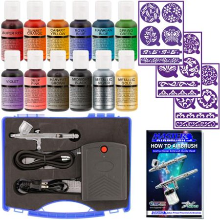 Master Airbrush Cake Decorating Set 12 Chefmaster Colors Compressor and Stencils](Halloween Cake Decorating Stencils)