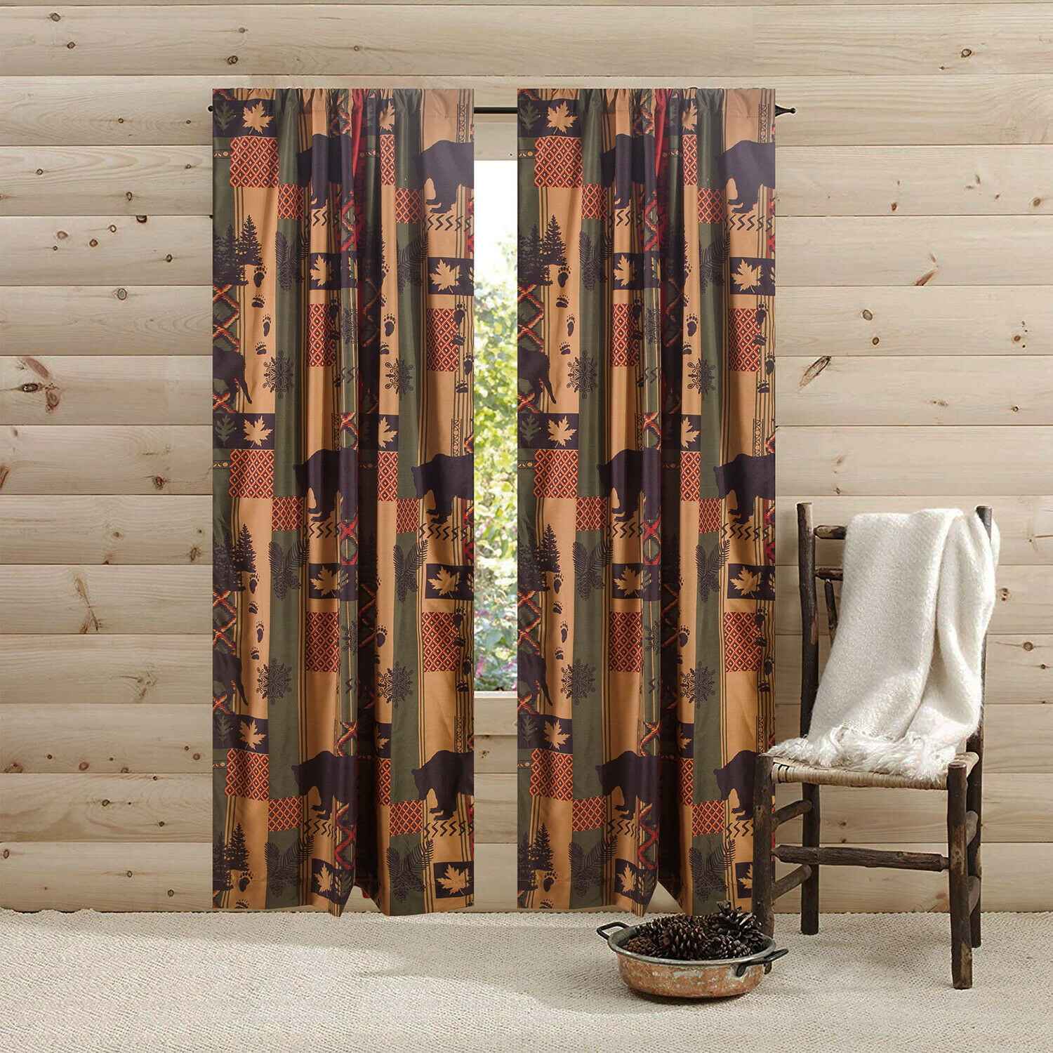 84 In Southwest Rustic Bear Cabin Lodge 2 Panel Pair Window Curtains Rod Pocket Drapes For Bedroom And Living Room Brown Green Red Walmart Com Walmart Com