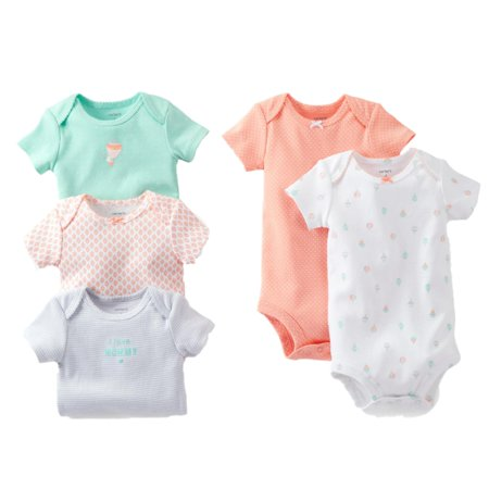 Carters Infant Girls Baby Outfits 5 Bodysuits Polka Dot Balloon Floral NB