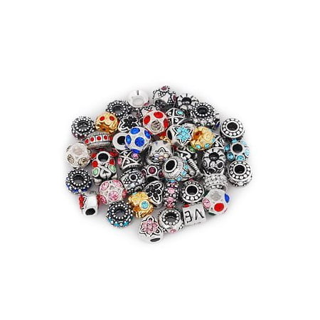 Ten Pack of Assorted Antique Silver Tone Beads and Rhinestone Spacer Bead Charms. Compatible With Troll, Biagi, Zable, Chamilia Charm