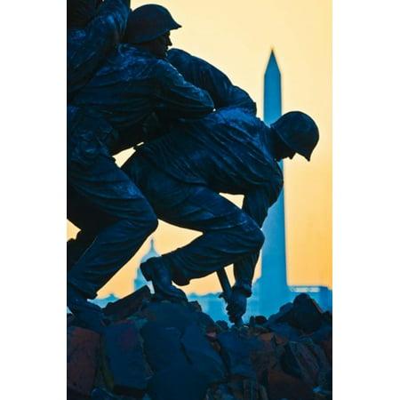 Iwo Jima Memorial At Dusk Arlington National Cemetery Arlington Virginia Poster Print By Panoramic Images  12 X 19