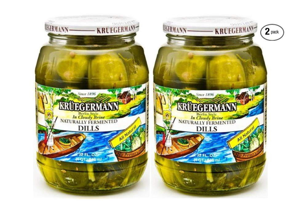 Kruegermann Pickles Naturally Fermented Dills in Cloudy Brine 2 Pack (64 floz Total) by