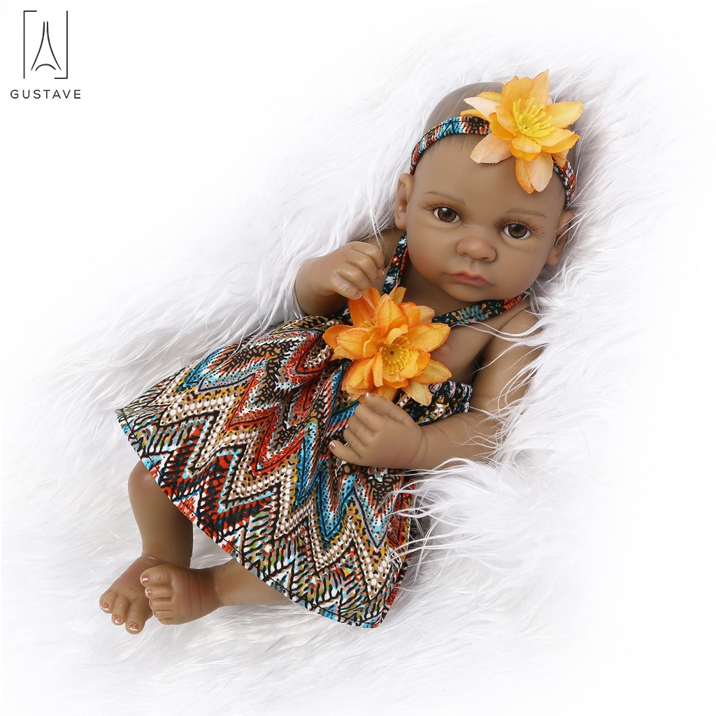 "GustaveDesign 11"" Mini Black Reborn Baby Doll Full Body Silicone Vinyl Newborn Doll Lifelike Black Girl Baby For 3+"