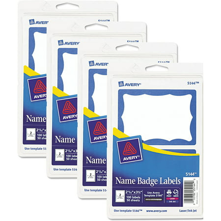 (4 Pack) Avery Printable Self-Adhesive Name Badges, 2 1/3 x 3 3/8, Blue Border, 100/Pack
