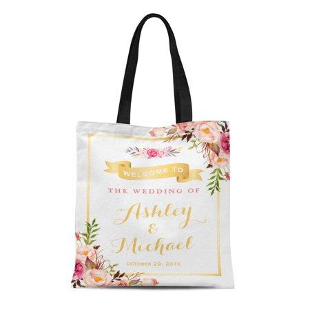 LADDKE Canvas Tote Bag Sign Wedding Reception Elegant Chic Floral Flowers Welcome Reusable Handbag Shoulder Grocery Shopping