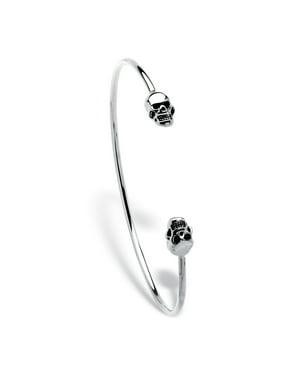 """Product Image Polished Twin Skulls Cuff Bangle Bracelet Platinum-Plated 7.5"""""""
