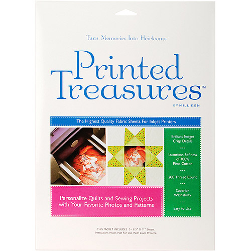 Dritz Printed Treasures Inkjet Fabric Sheets, Sew-On-White