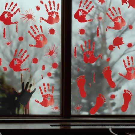 8 Sheets 80 Pcs Footprints Handprints Floor Window Clings Wall Decals - Floor Clings