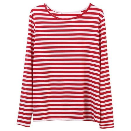 HIRIGIN Casual Women Red White Striped Long Sleeve T Shirt Cotton Loose Shirt Female Basic O-Neck Tops Tee Autumn