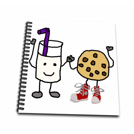 3dRose Funny Cute Milk and Cookies Cartoon Character Friends - Drawing Book, 8 by 8-inch