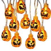 2 Pack Pumpkin Halloween Lights, 9.51ft 20 LED Battery Operated Jack O'Lanterns Halloween String Lights for Outdoor & Indoor Decoration, Not Include Battery (Orange)