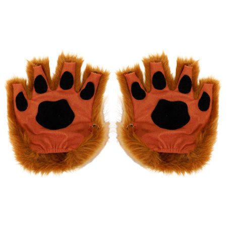 Brown Paw Fingerless Gloves for Adults, One Size, Faux Brown Fur with Paw Pads ()