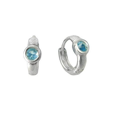 Sterling Silver Round Crystal Solitaire Huggies Hoop Earrings, Aqua