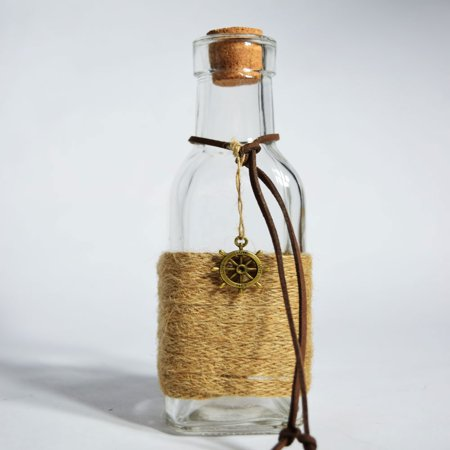 Quasimoon Boho Chic Crafted Glass Message Bottle w/ Cork, Burlap (Wheel Love Sea Style 2) by (Message In A Bottle Cover Machine Head)