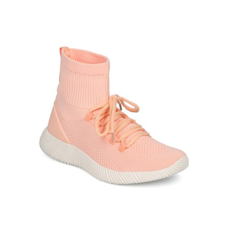 New Women Qupid Spyrock-10 Fabric Knit Lace Up High Top Jogger