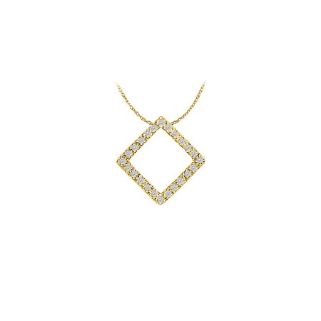 Conflict Free Diamond Square Pendant in 14K Yellow Gold Unique Design with Affordable Price - image 2 de 2