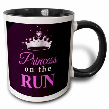 3dRose Princess on the Run - Black - Hot pink text - silver tiara crown - girl runner running race racing, Two Tone Black Mug, 11oz