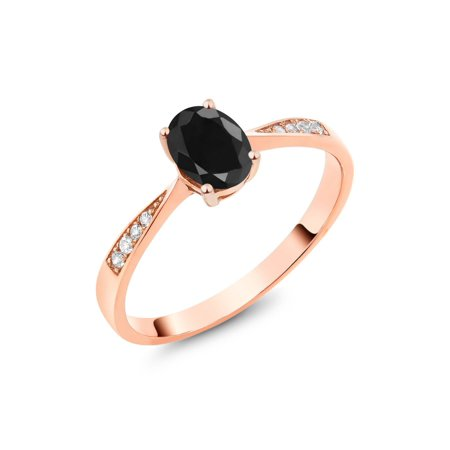 10K Rose Gold Diamond Ring with 1.13 Ct Oval Black Sapphire