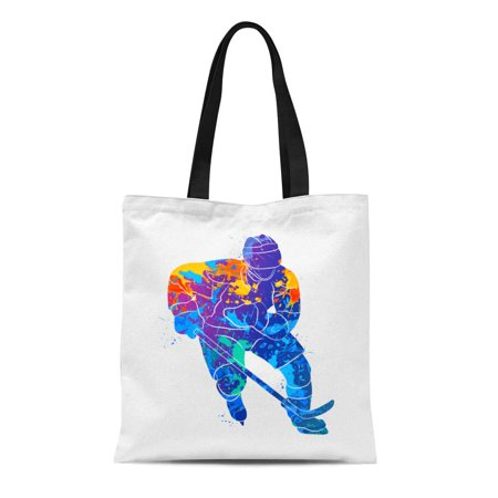 LADDKE Canvas Tote Bag Watercolor Winter Hockey Player Ice Cartoon Skates Abstract Accuracy Reusable Shoulder Grocery Shopping Bags -