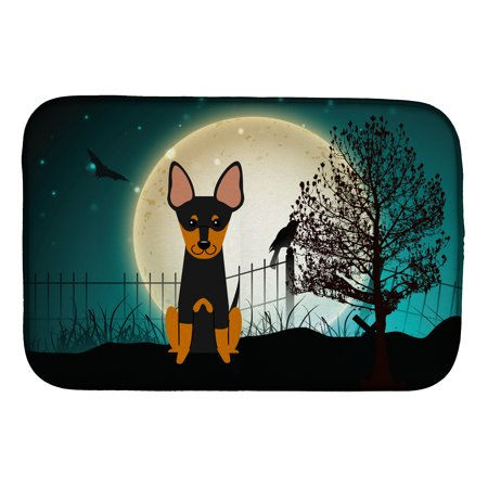 Halloween Scary English Toy Terrier Dish Drying Mat