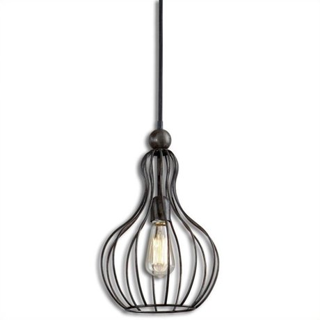 Uttermost Bourret 1 Light Pendant In Black And Silver