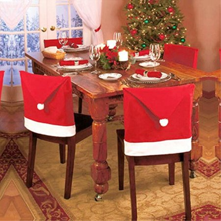 Swell Lohomea Santa Hat Chair Covers Set Of 4 Pcs Santa Clause Red Hat Chair Back Covers Kitchen Chair Covers Sets For Christmas Holiday Festive Decor Gmtry Best Dining Table And Chair Ideas Images Gmtryco