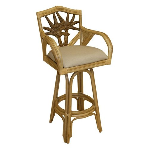 401-6179-TCA-C Cancun Palm Indoor Swivel Rattan and Wicker 24-in Counter Bar Stool