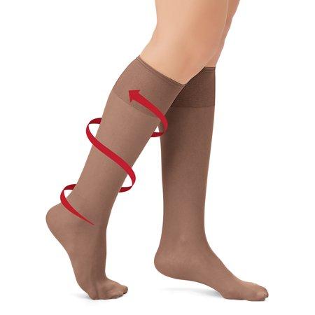 6 Stockings - Sheer Non-Binding Non-Run Support Knee Hi Stocking Hosiery, 6 Pack