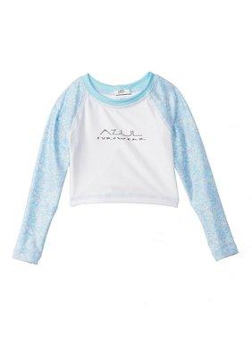 5f9a5717 Product Image Azul Little Boys Powder Blue White Long Sleeve Baby's Breath  Rash Guard