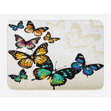 Butterfly Bath Mat, Vivid Monarch Butterflies Flying Shades Shadows Dreamlike Artsy Fantasy Display, Non-Slip Plush Mat Bathroom Kitchen Laundry Room Decor, 29.5 X 17.5 Inches, Multicolor, Ambesonne (Monarch Bath Fixture)