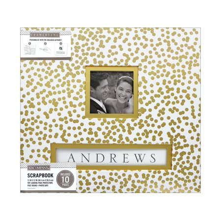 K&Co Scrapbook 12x12 Frame-A-Name Gold Foil Scattr 12x12 Page Layout Scrapbook