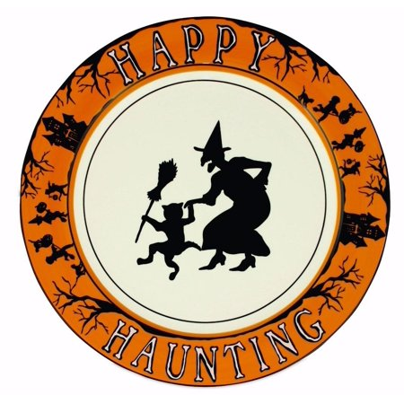Halloween Party Ceramic Dinner Plate  Witch  Ghouls And Boo  12  D  Bethany Lowe By Bethany Lowe