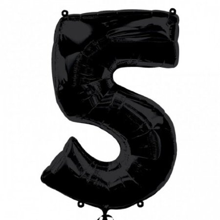 Anagram Supershape 34 Inch Number Balloon - 5 Black, The Supershape Foil Balloon is supplied deflated for ease of packaging and can be filled with Helium.., By AnagramMD